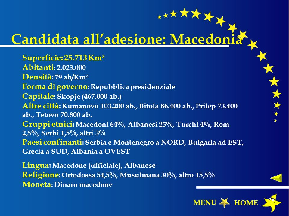 Candidata all'adesione: Macedonia
