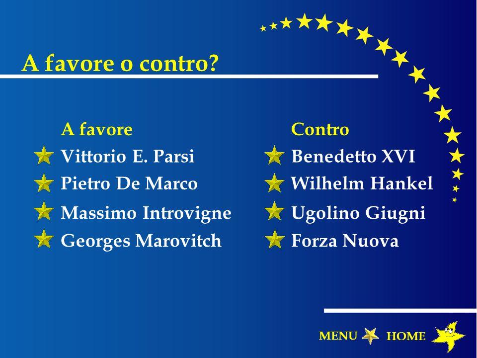 A favore o contro A favore Contro Vittorio E. Parsi Benedetto XVI