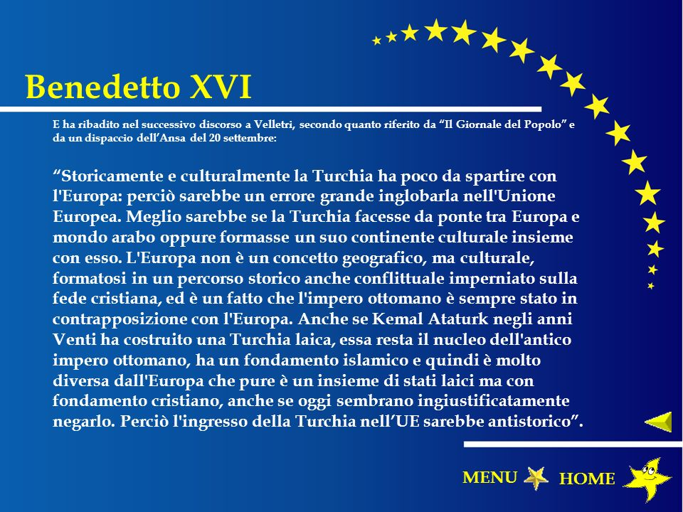 Benedetto XVI MENU HOME