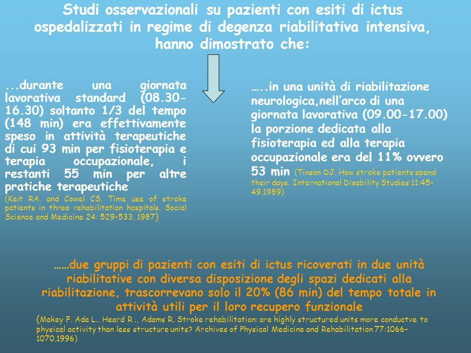 Studi osservazionali su pazienti con esiti di ictus ospedalizzati in regime di degenza riabilitativa intensiva, hanno dimostrato che: