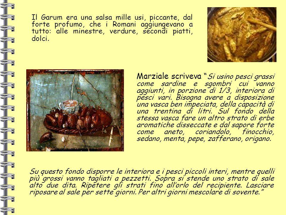 Il Garum era una salsa mille usi, piccante, dal forte profumo, che i Romani aggiungevano a tutto: alle minestre, verdure, secondi piatti, dolci.