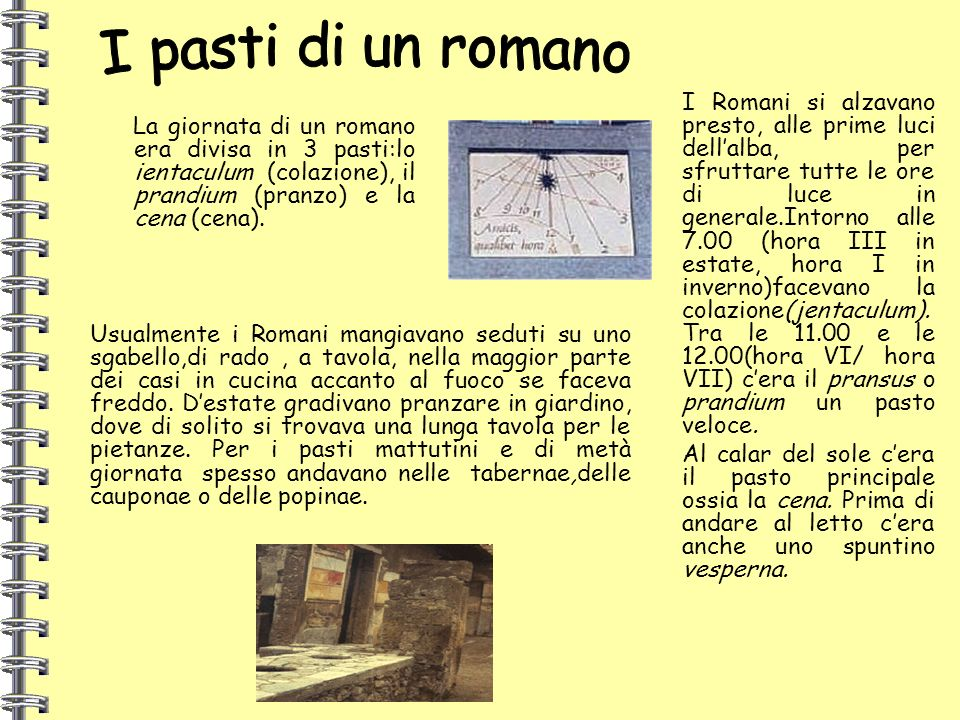 I pasti di un romano