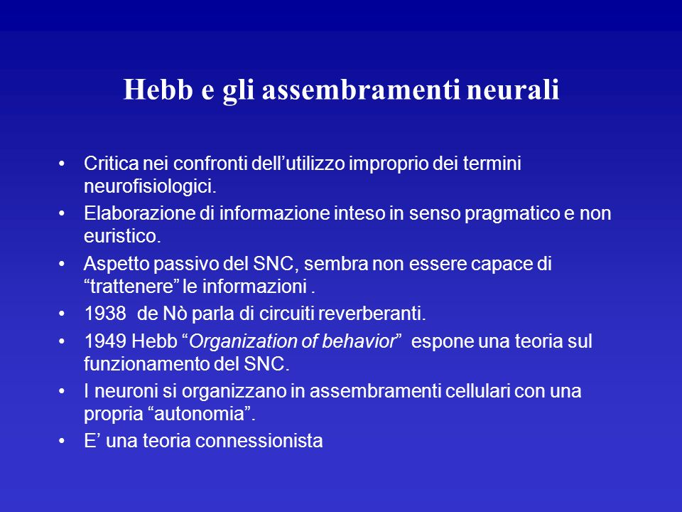 Hebb e gli assembramenti neurali