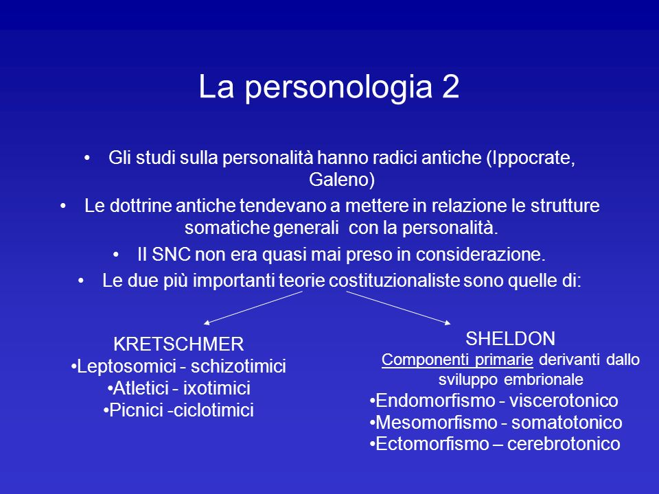 La personologia 2 Gli studi sulla personalità hanno radici antiche (Ippocrate, Galeno)