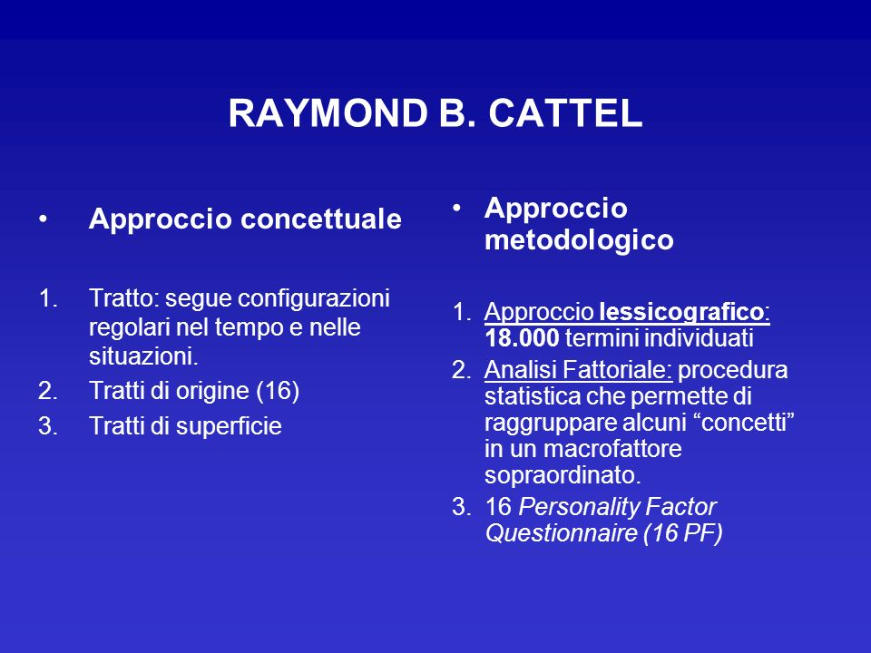 RAYMOND B. CATTEL Approccio metodologico Approccio concettuale