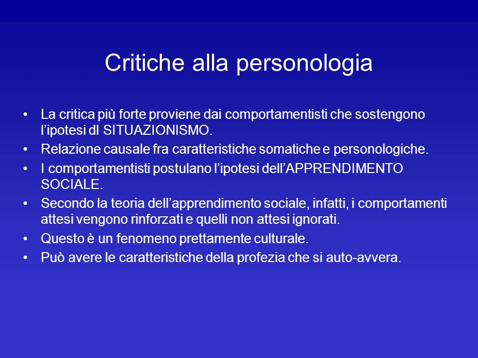 Critiche alla personologia
