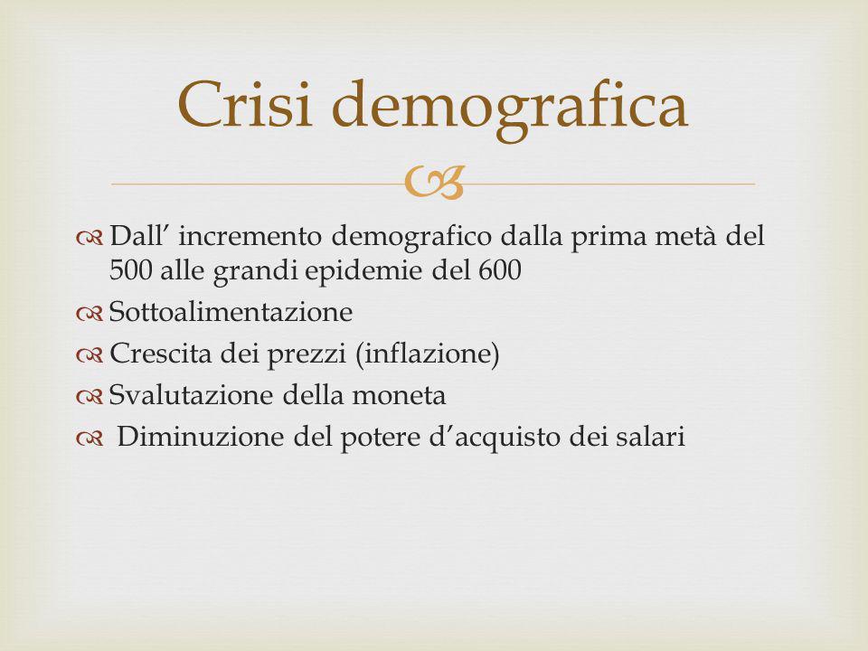 Crisi demografica Dall' incremento demografico dalla prima metà del 500 alle grandi epidemie del 600.