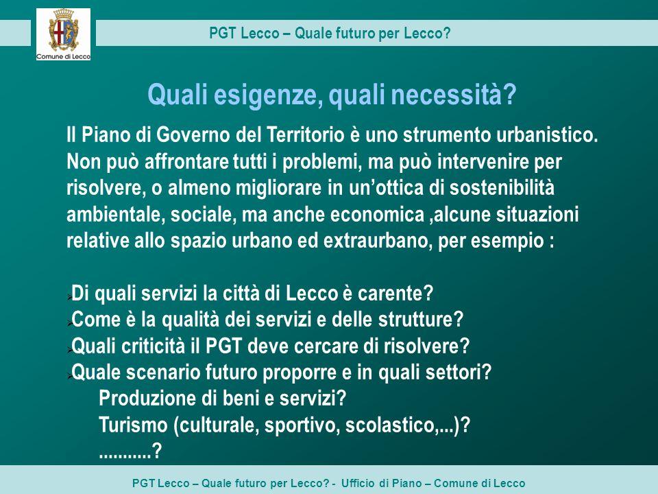 PGT Lecco – Quale futuro per Lecco Quali esigenze, quali necessità