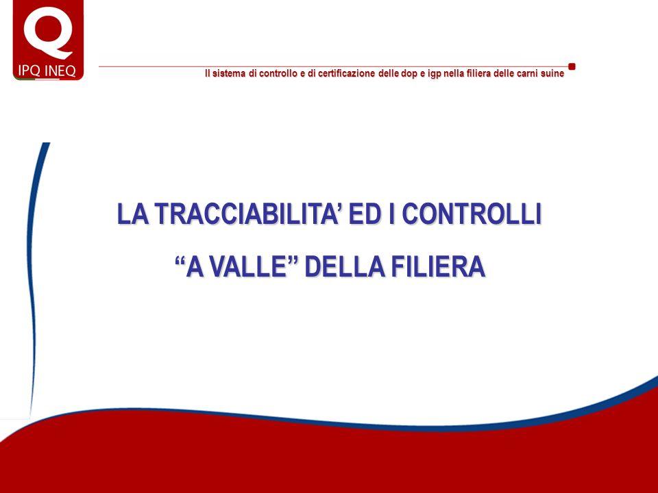 LA TRACCIABILITA' ED I CONTROLLI A VALLE DELLA FILIERA