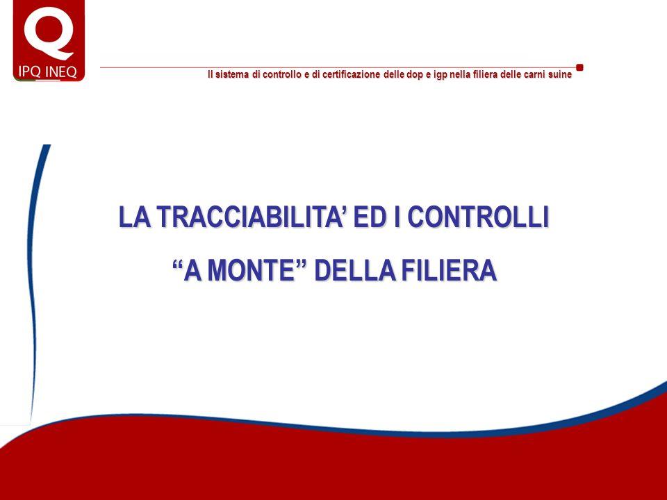 LA TRACCIABILITA' ED I CONTROLLI A MONTE DELLA FILIERA