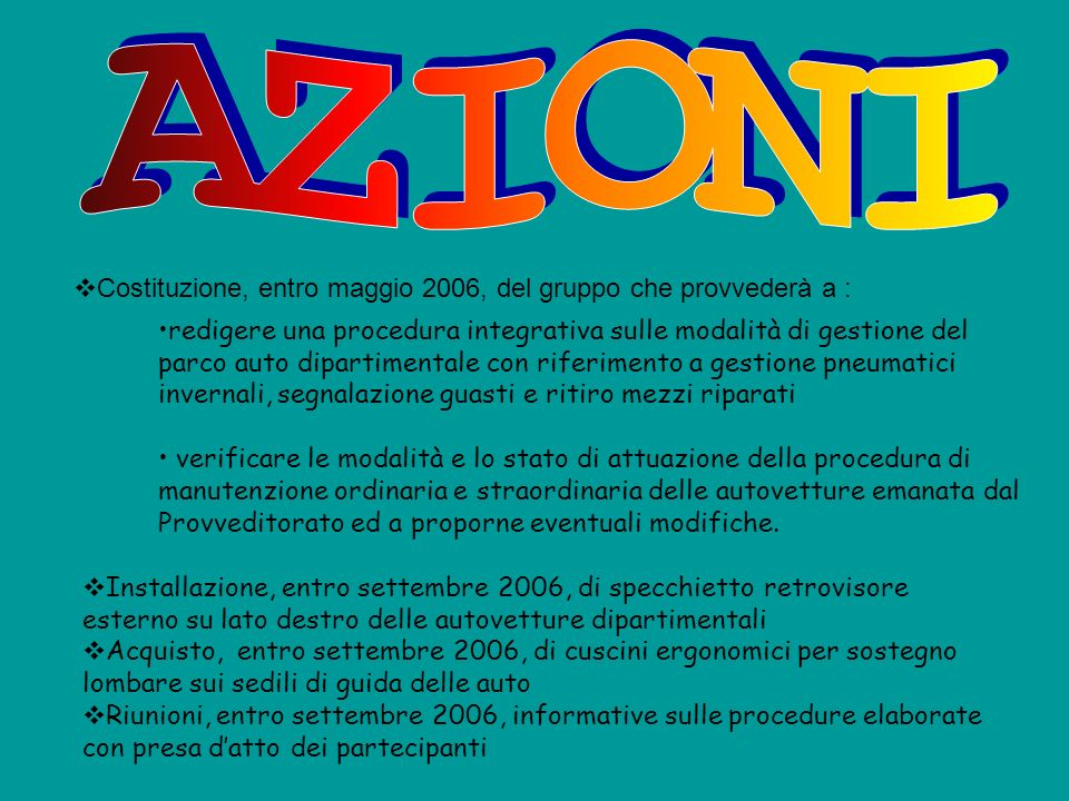 AZIONI Costituzione, entro maggio 2006, del gruppo che provvederà a :