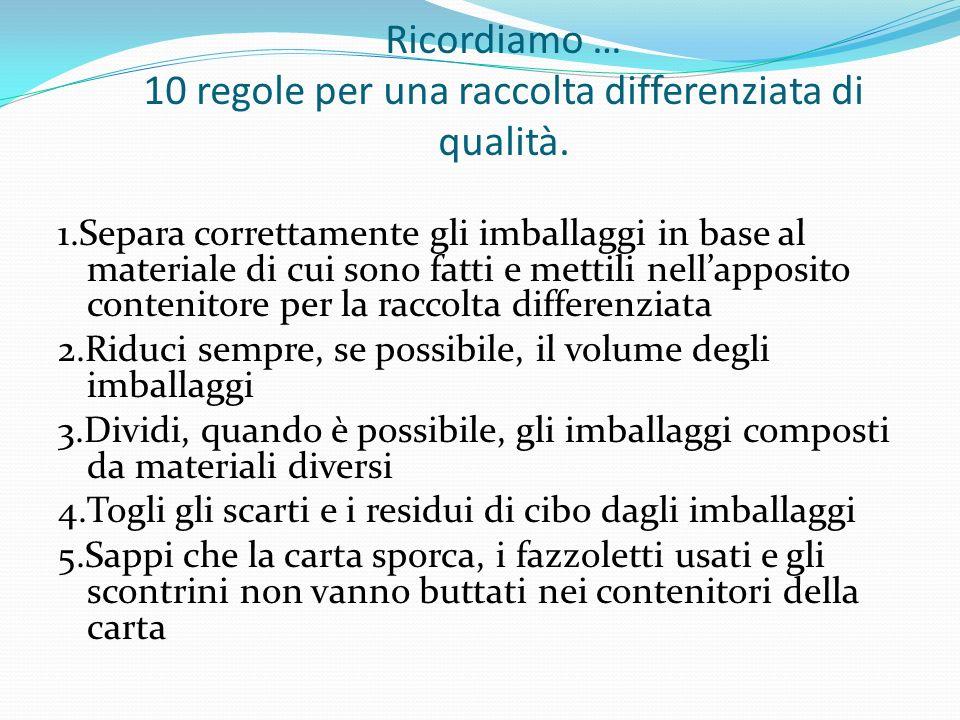 Ricordiamo … 10 regole per una raccolta differenziata di qualità.