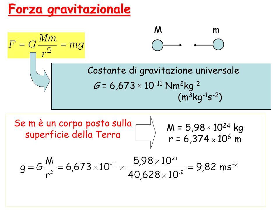 Forza gravitazionale M m G = 6,673 x 10-11 Nm2kg-2 (m3kg-1s-2)