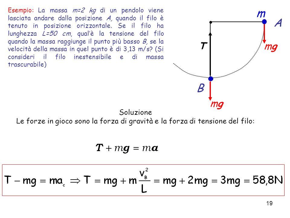 Esempio: La massa m=2 kg di un pendolo viene lasciata andare dalla posizione A, quando il filo è tenuto in posizione orizzontale. Se il filo ha lunghezza L=50 cm, qual'è la tensione del filo quando la massa raggiunge il punto più basso B, se la velocità della massa in quel punto è di 3,13 m/s (Si consideri il filo inestensibile e di massa trascurabile)