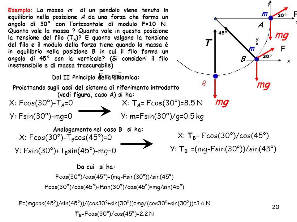 Dal II Principio della dinamica: Analogamente nel caso B si ha: