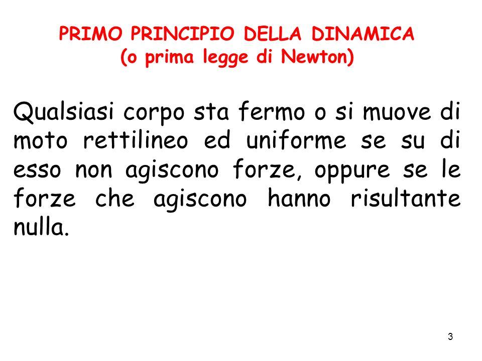 PRIMO PRINCIPIO DELLA DINAMICA (o prima legge di Newton)