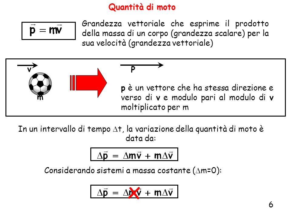 Considerando sistemi a massa costante (Dm=0):