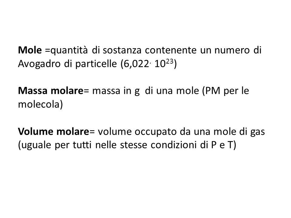 Mole =quantità di sostanza contenente un numero di Avogadro di particelle (6,022. 1023)