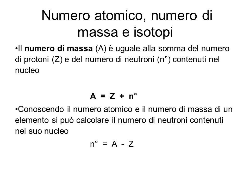 Numero atomico, numero di massa e isotopi