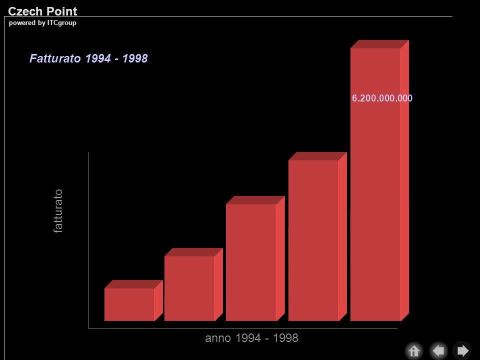 Fatturato 1994 - 1998 6.200.000.000 fatturato anno 1994 - 1998