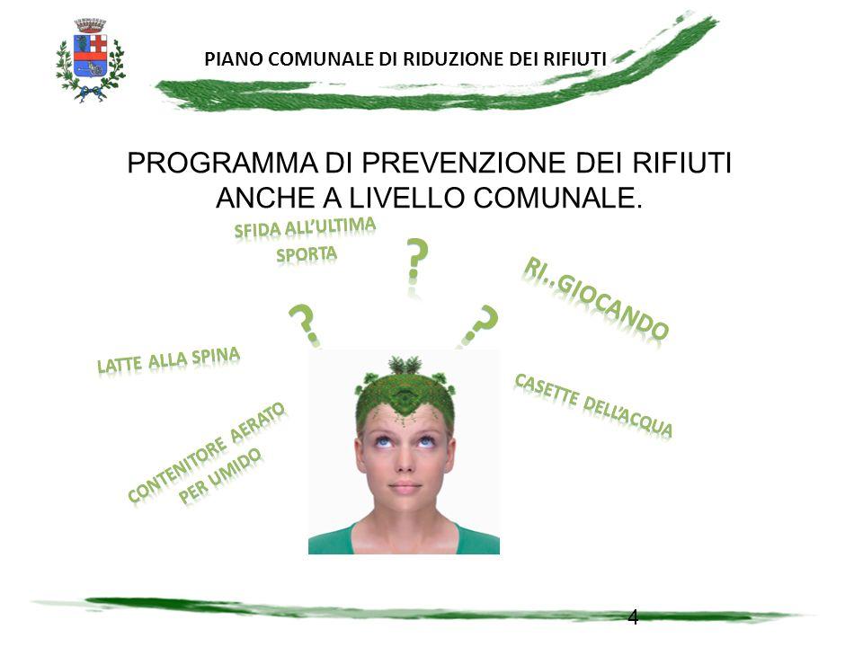 PROGRAMMA DI PREVENZIONE DEI RIFIUTI ANCHE A LIVELLO COMUNALE.