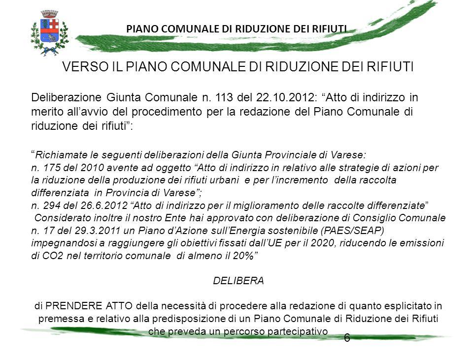 VERSO IL PIANO COMUNALE DI RIDUZIONE DEI RIFIUTI