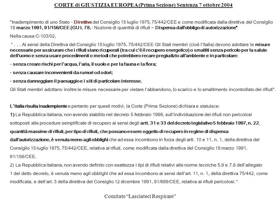 CORTE di GIUSTIZIA EUROPEA (Prima Sezione) Sentenza 7 ottobre 2004