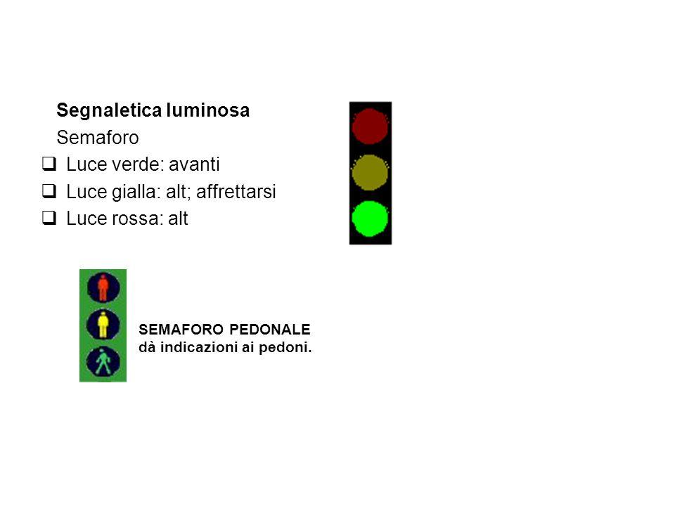 Luce gialla: alt; affrettarsi Luce rossa: alt