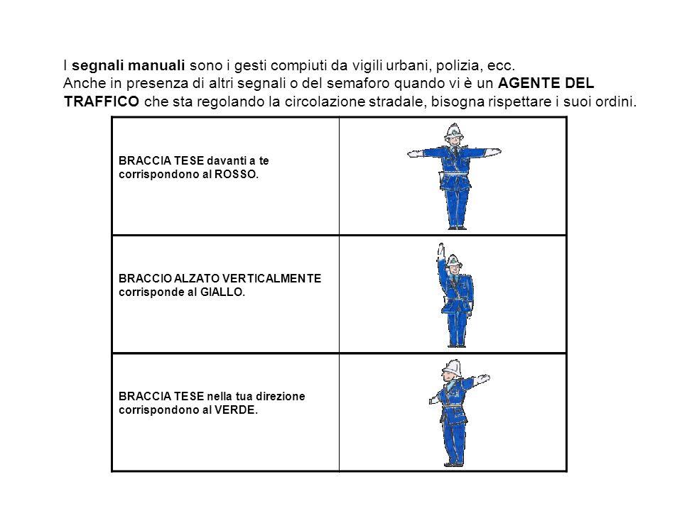 I segnali manuali sono i gesti compiuti da vigili urbani, polizia, ecc