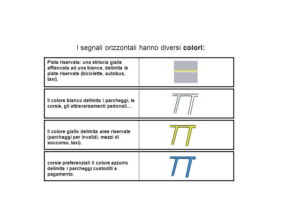 I segnali orizzontali hanno diversi colori: