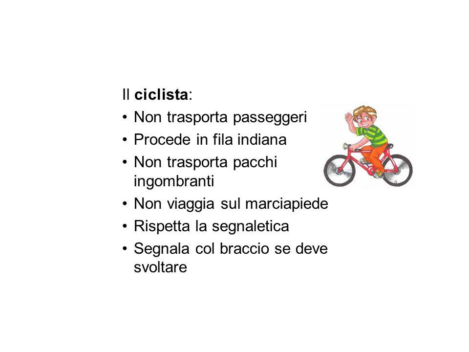 Il ciclista: Non trasporta passeggeri. Procede in fila indiana. Non trasporta pacchi ingombranti.