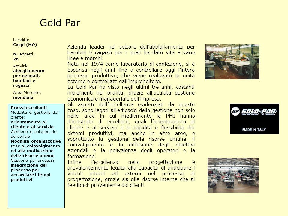 Gold Par Località: Carpi (MO) N. addetti: 26. Attività: abbigliamento per neonati, bambini e ragazzi.