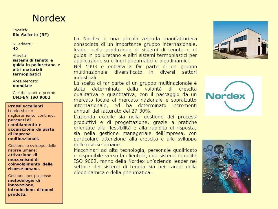 Nordex Località: Rio Saliceto (RE) N. addetti: 42. Attività: sistemi di tenuta e guida in poliuretano e altri materiali termoplastici.