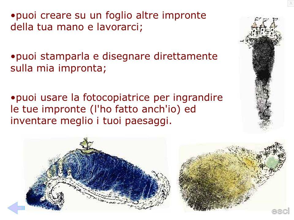 puoi creare su un foglio altre impronte della tua mano e lavorarci;