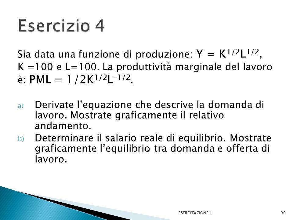 Esercizio 4 Sia data una funzione di produzione: Y = K1/2L1/2,
