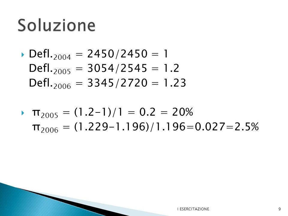 Soluzione Defl.2004 = 2450/2450 = 1 Defl.2005 = 3054/2545 = 1.2