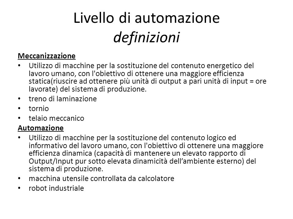 Livello di automazione definizioni