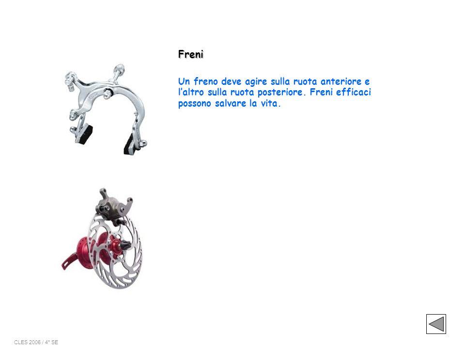 Freni Un freno deve agire sulla ruota anteriore e l'altro sulla ruota posteriore. Freni efficaci possono salvare la vita.