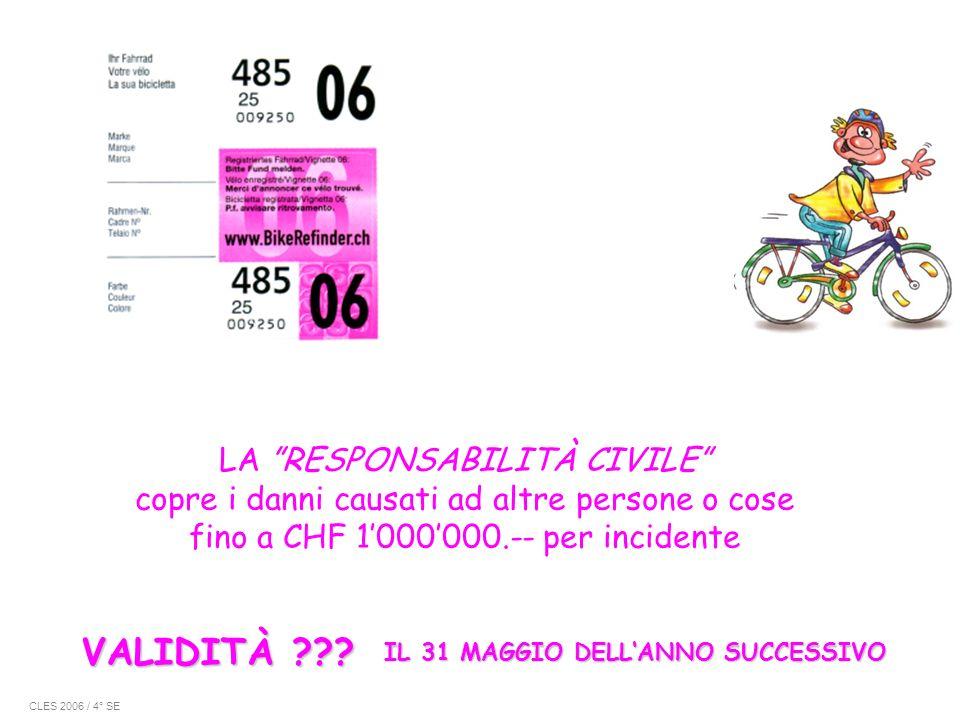 LA RESPONSABILITÀ CIVILE copre i danni causati ad altre persone o cose fino a CHF 1'000'000.-- per incidente