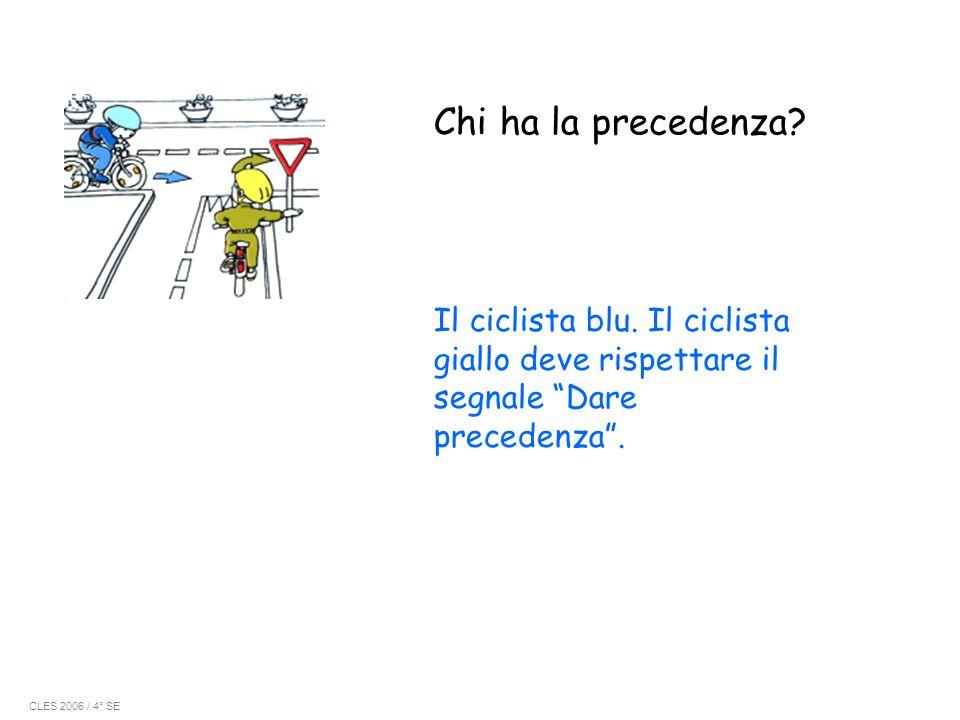 Chi ha la precedenza Il ciclista blu. Il ciclista giallo deve rispettare il segnale Dare precedenza .