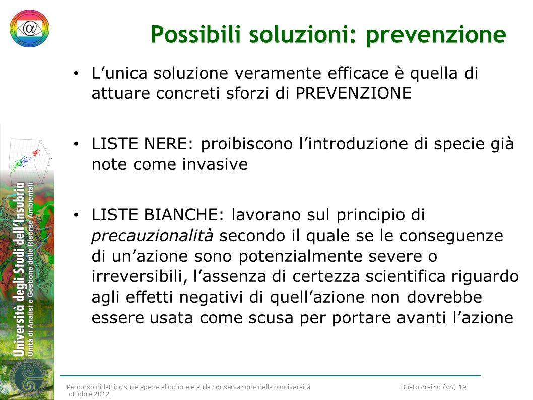 Possibili soluzioni: prevenzione