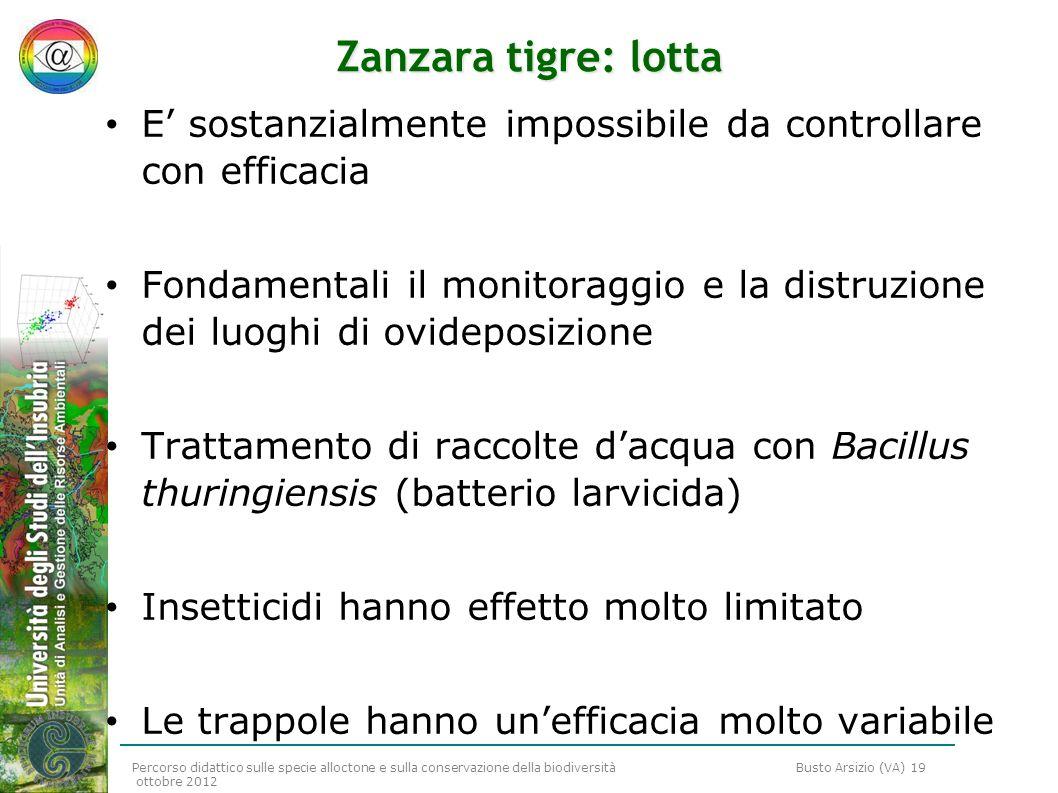 Zanzara tigre: lotta E' sostanzialmente impossibile da controllare con efficacia.