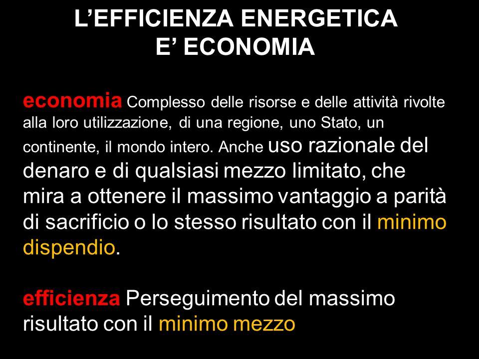 L'EFFICIENZA ENERGETICA E' ECONOMIA