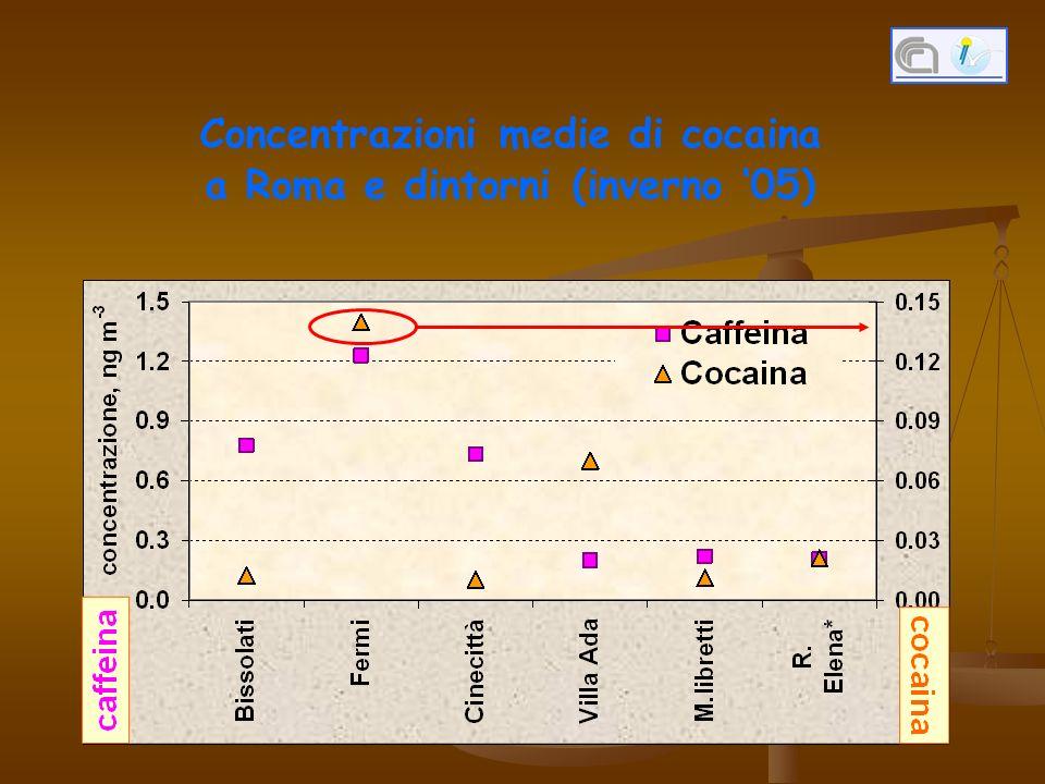 Concentrazioni medie di cocaina a Roma e dintorni (inverno '05)