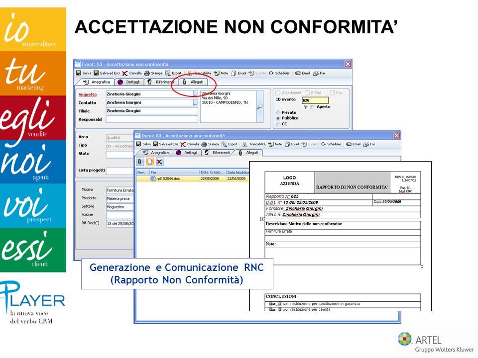 Generazione e Comunicazione RNC (Rapporto Non Conformità)