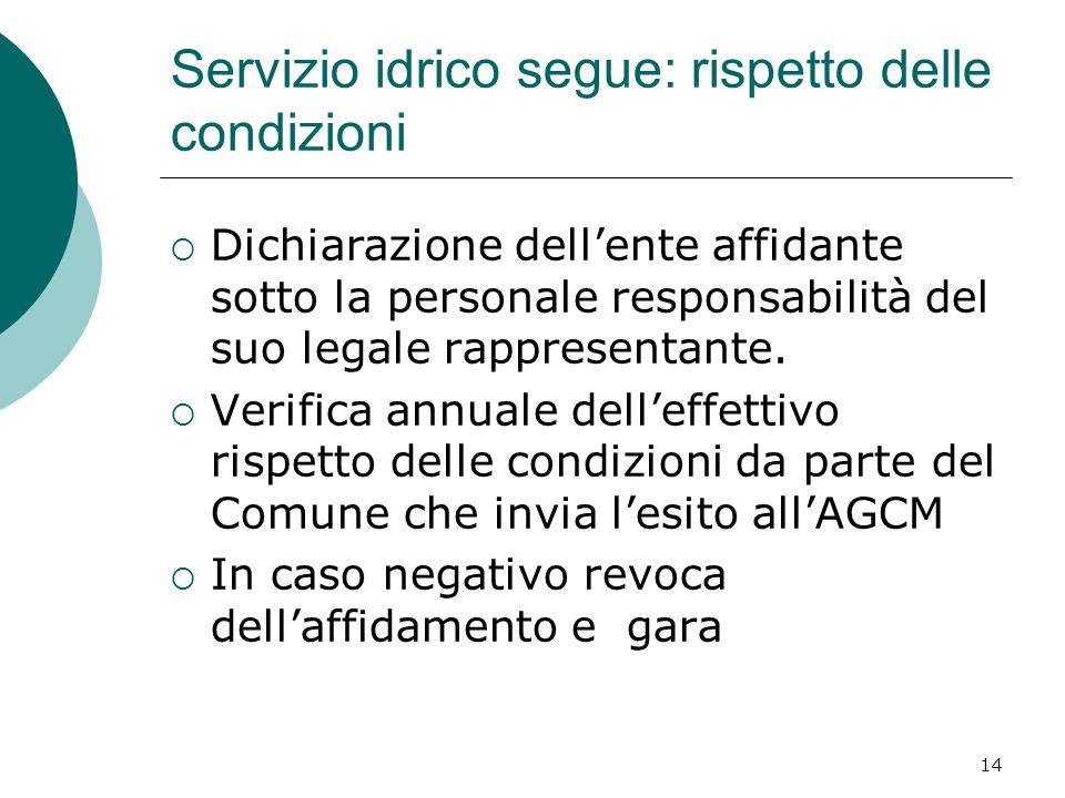 Servizio idrico segue: rispetto delle condizioni