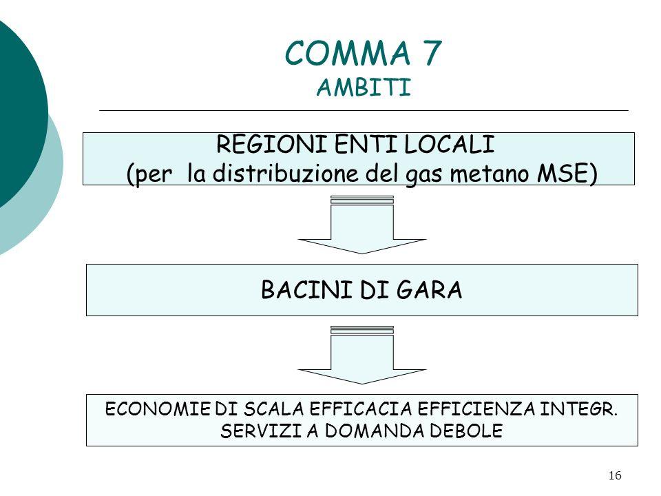 (per la distribuzione del gas metano MSE)