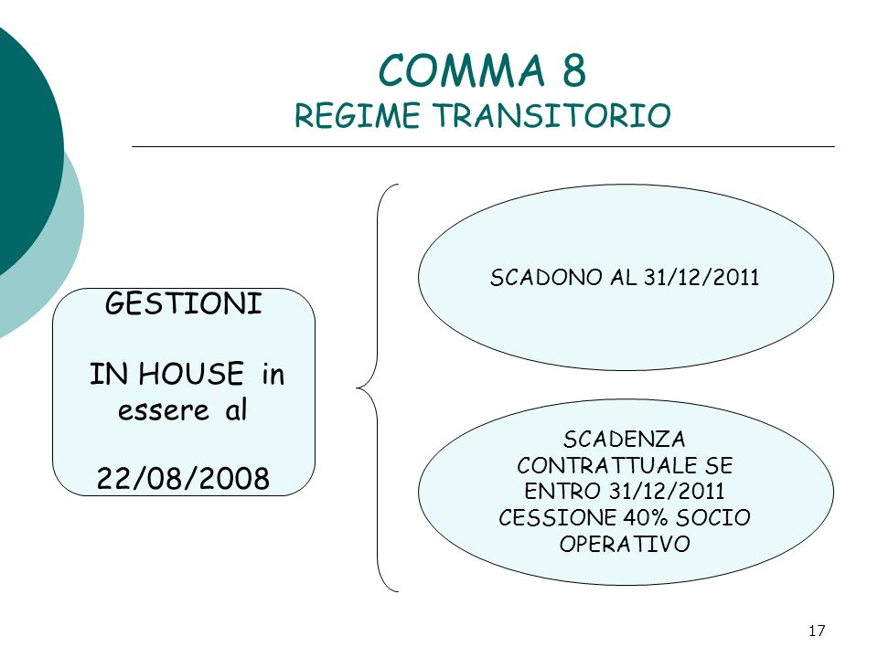 COMMA 8 REGIME TRANSITORIO