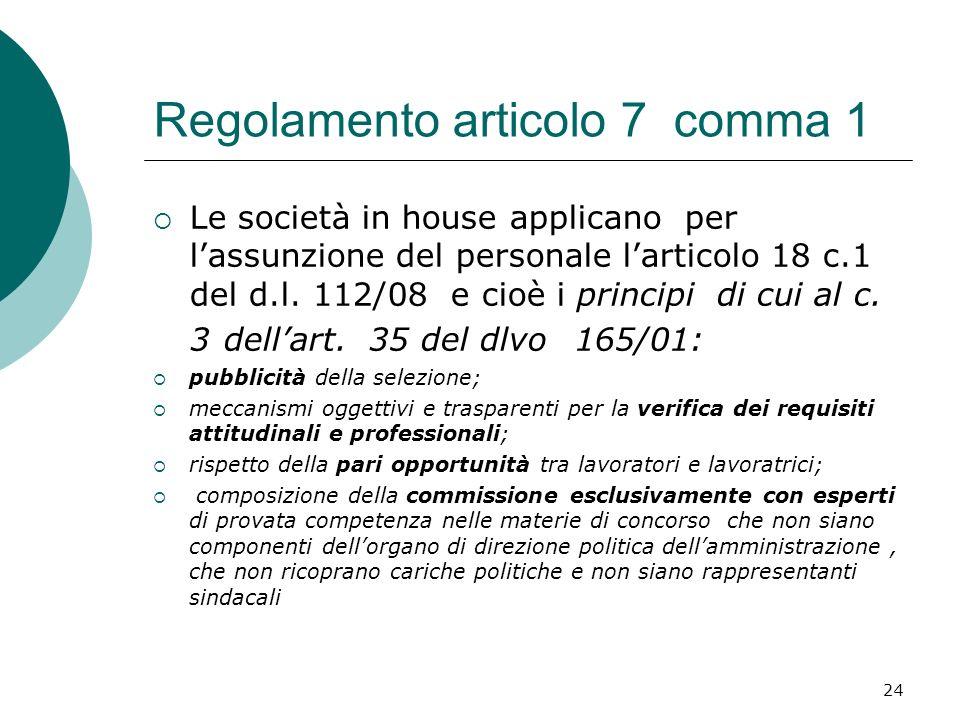 Regolamento articolo 7 comma 1