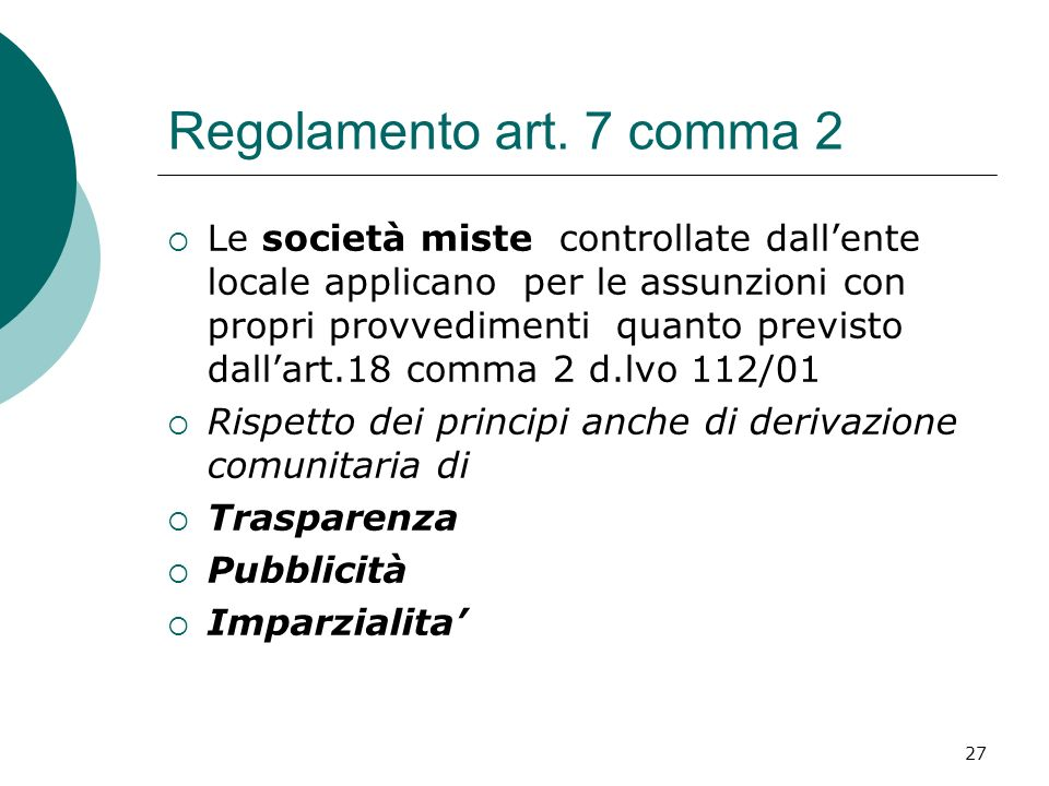 Regolamento art. 7 comma 2